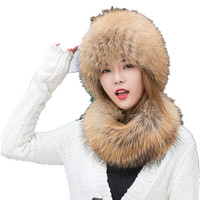 natural fur hat for women real fox fur beanie with scarf set white black genuine silver fox fur hats scarves winter warm capH249