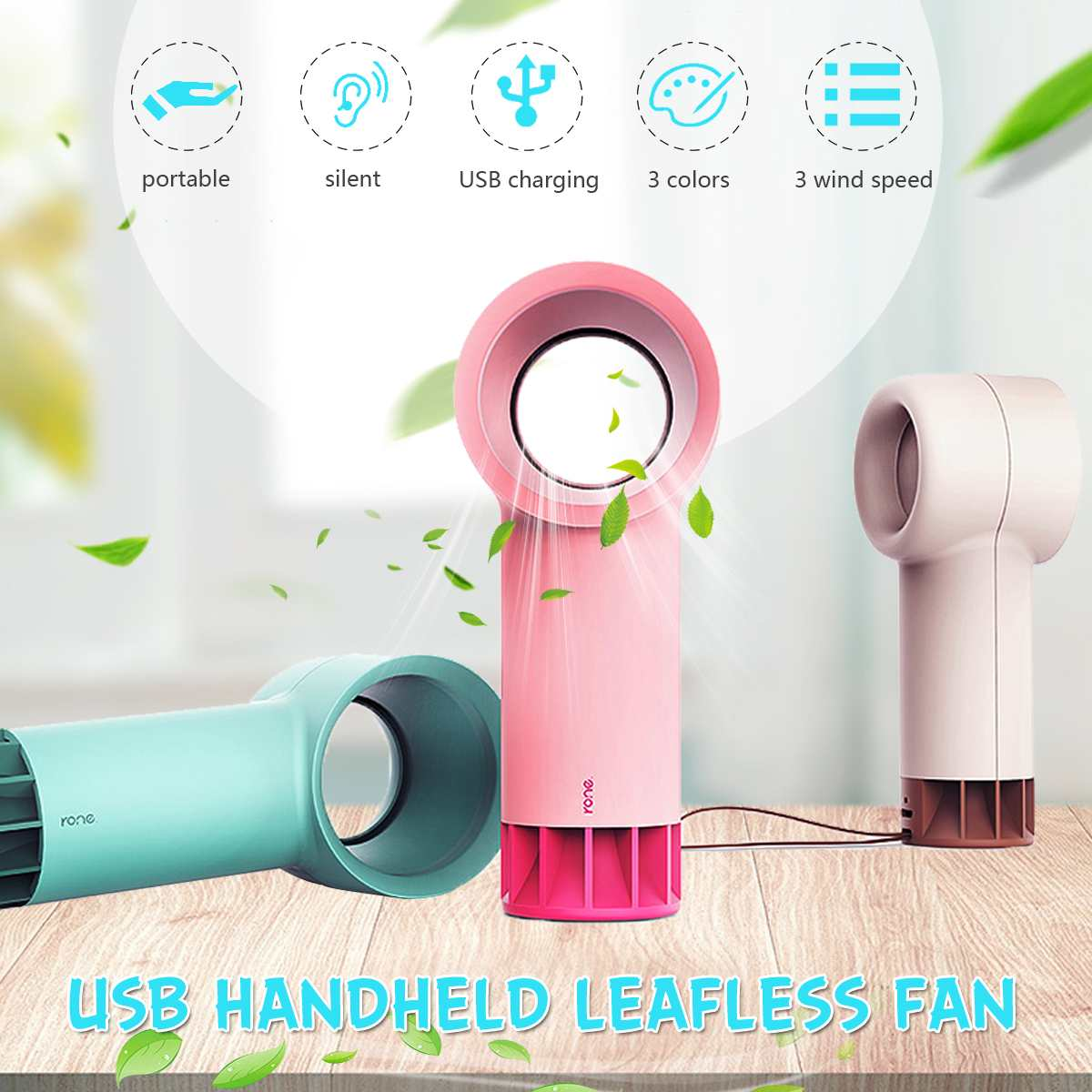Electric Bladeless Fan Portable Mini Leafless Fan Handheld 3 Speed Adjustable USB Rechargeable Air Cooling Fan Cordless SummerElectric Bladeless Fan Portable Mini Leafless Fan Handheld 3 Speed Adjustable USB Rechargeable Air Cooling Fan Cordless Summer