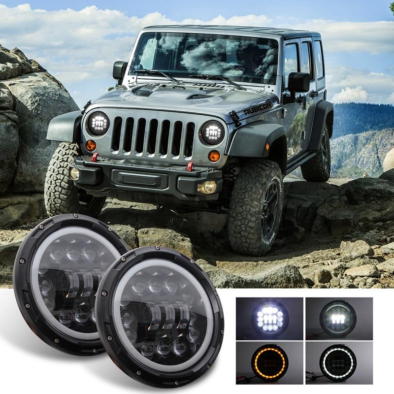 Hiyork 7 pouces LED ronde phares avec Angel Eye clignotant pour Jeep Wrangler Car 4x4 H4 et H13 adaptateur inclus phare 400 W