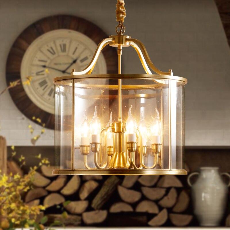 Grande suspension Vintage en laiton pour salle à manger Dressing cuivre lampes chambre Restaurant verre suspension lampe suspension lumières