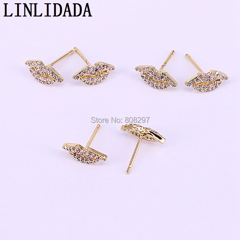 20Pair Unique Fashion Sexy Lips shape Cubic Zirconia Stud Earrings Charm Jewelry for Women