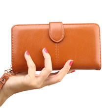 Vintage Leather Women Long Wallets Ladies Fashion Wallet Coin 3fold Purse Female Coin Pocket Card Holder Wallet Purses Money Bag(China)