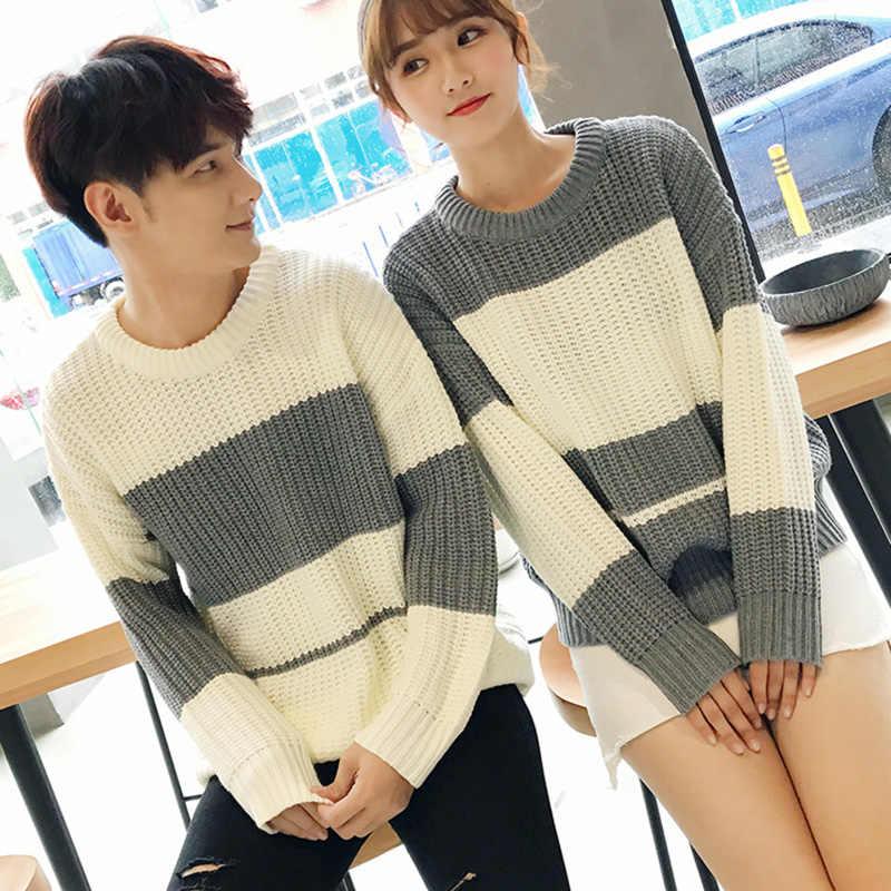 ded7443b05 Autumn Winter New Knit Sweater Striped Korean Couple Fringe Cotton Jumper  Plus Size Sweater O-
