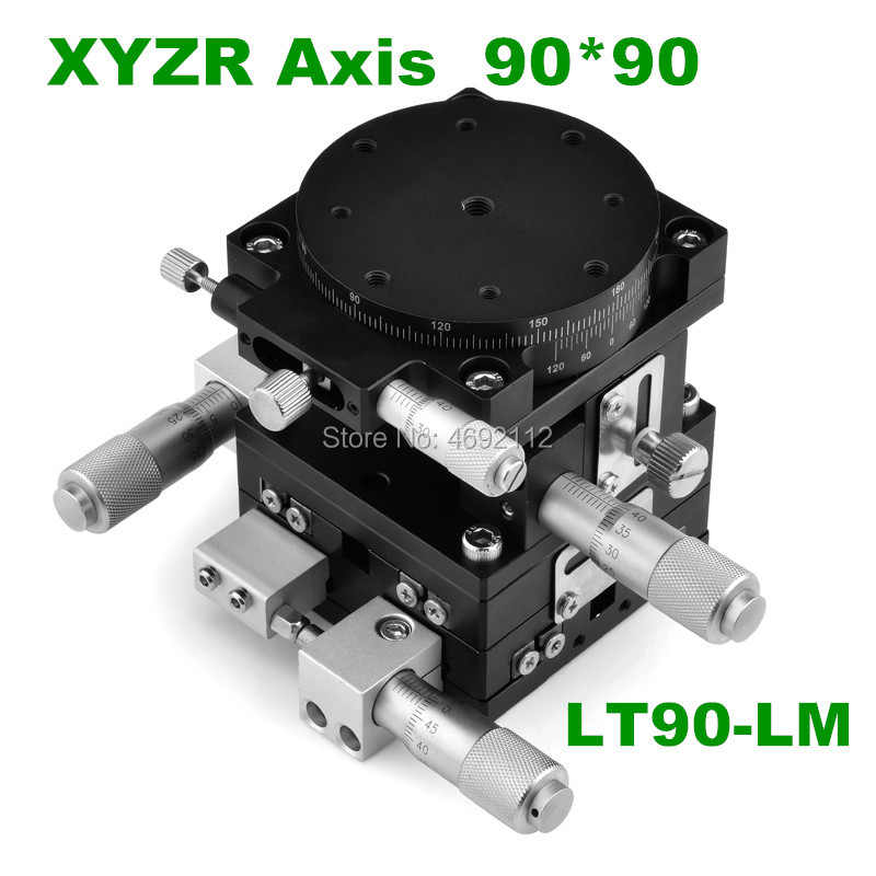 XYZR axis 90*90mm V-Type 4 Axis Trimming Platform Manual Linear Stage Bearing Tuning Sliding Table 29.4N LT90-LM XYZR axis 90*90mm V-Type 4 Axis Trimming Platform Manual Linear Stage Bearing Tuning Sliding Table 29.4N LT90-LM