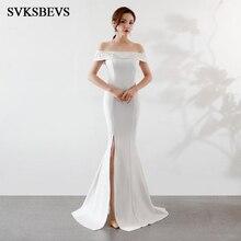 SVKSBEVS Crystal Slash Neck Sexy Split Mermaid Long Dresses Party Appliques Off The Shoulder Backless Maxi Dress