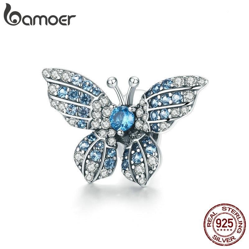 BAMOER 100 925 Sterling Silver Crystal Blue Zircon Butterfly Beads fit Charm Bracelets Women Necklaces Silver Innrech Market.com