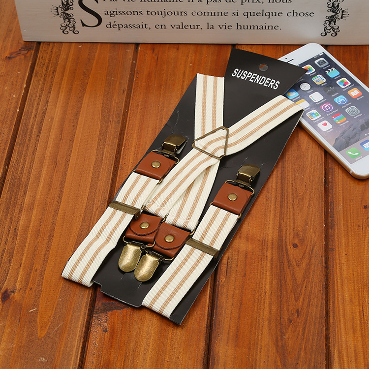 2019 New Men's Elastic Straps New Beige Stripes Four Clips Hanging Pants With Fashion Wild