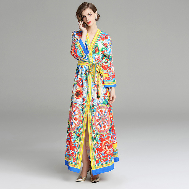 US $25.19 40% OFF Brand Runway Long Sleeve Dress Women Autumn Maxi Dresses  Plus Size Laces Pattern Circle Dot Parrots Soldiers Horses Flower Dress-in  ...