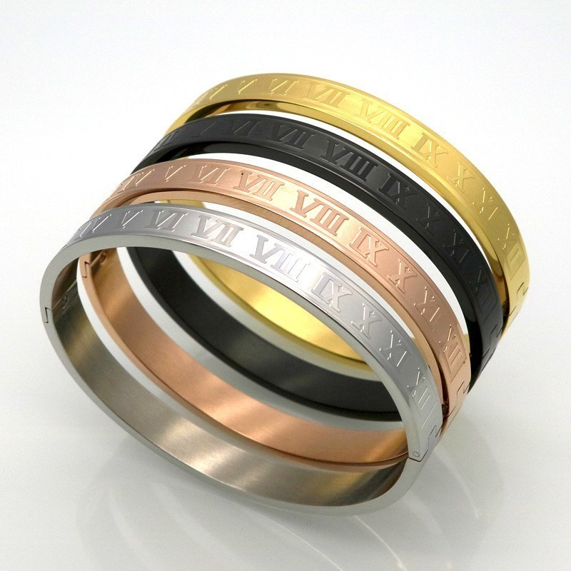 Love Roman Numeral Men Women Bracelet Bangle Titanium Steel 4colors Couple Bangle Bracelet For Men Women Jewelry Gift