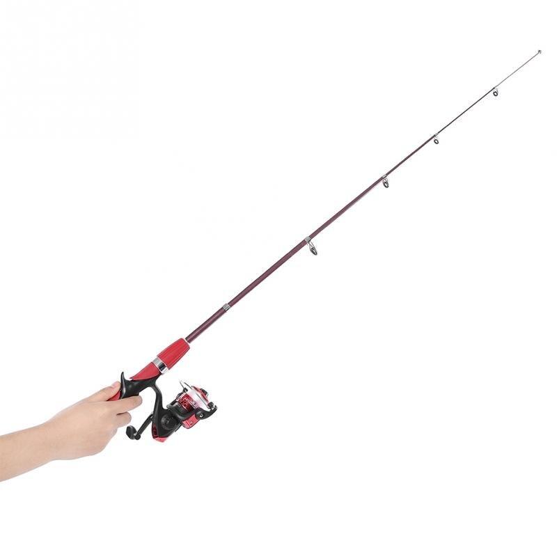 Fiberglass Fishing Rod Reel Set Rod Combo Ice Fishing Spinning Reel Telescopic Rod Pole Gear Set with Lure Hook Fish Float Tool