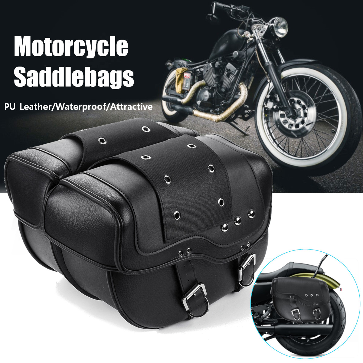 2pcs PU Leather Braided Motorcycle Saddlebag for Sportster XL883 XL1200