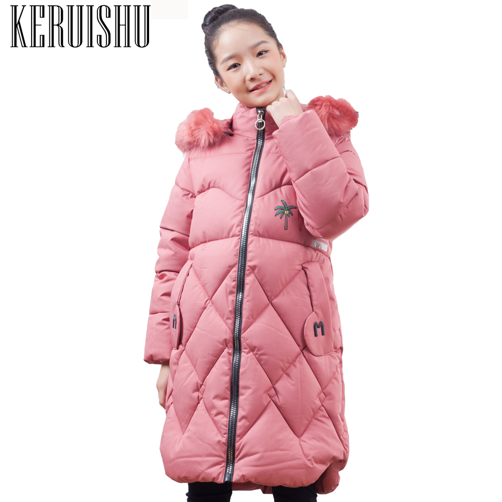 03691f19268 KeRuiShu Girls Jackets Kids Faux Fur Collar Coat Children Winter Outwear  8-15 Years Girl Black Letter Print Warm Long Outerwear