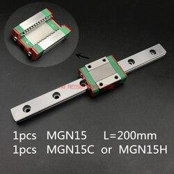 Prowadnica liniowa części routera Cnc AXK 15mm prowadnica liniowa Mgn15 L = 200mm droga szyny + Mgn15c lub Mgn15h długi wózek do osi xyz Cnc