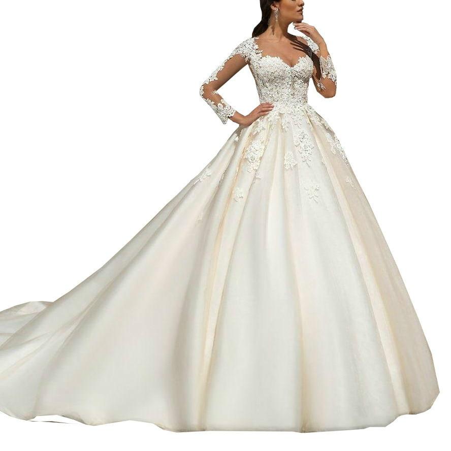 853d30270d09b6 2018 Modest Long Sleeves Ball Gowns Wedding Dress Lace Appliques Sheer  Neckline Custom Made Bridal Gown abiti da sposa gelinlik ~ Free Shipping  July 2019