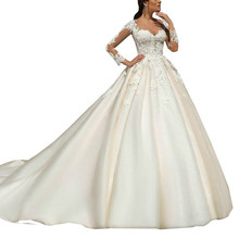 Long Sleeves Ball Gowns Wedding Dress Neckline Bridal Gown