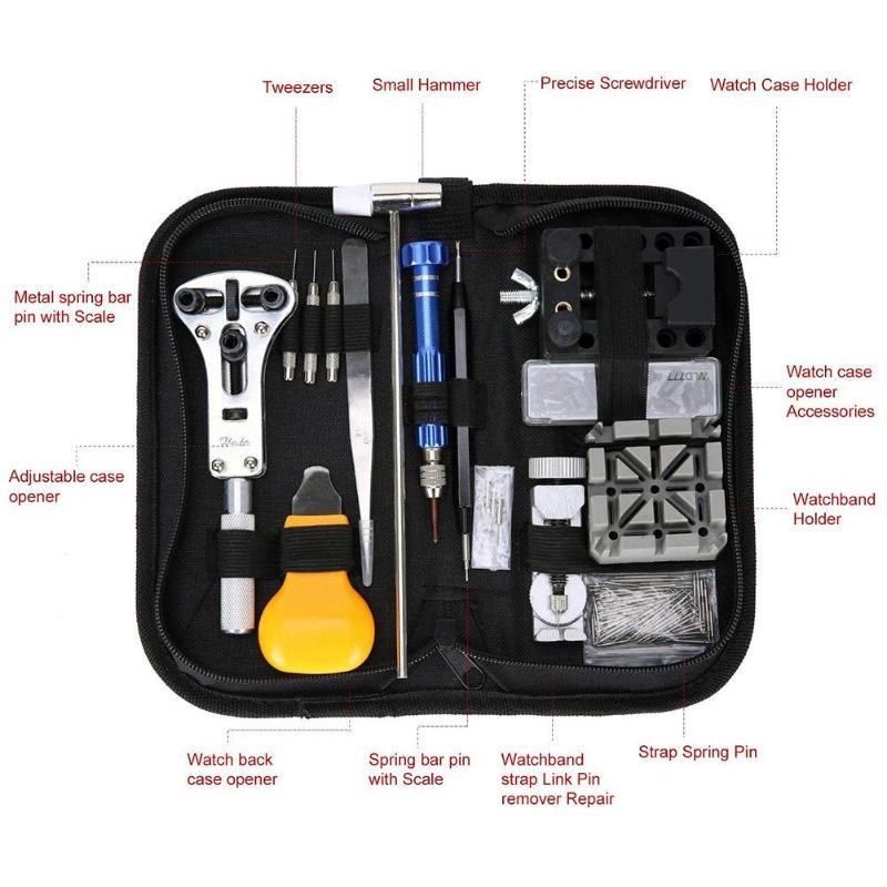 Horloge Reparatie gereedschap set 144-delig reparatie Tool Kit Case 5