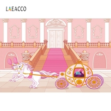Laeacco Cartoon Sky Cloud Carriage Fantasy Castle Photography Backgrounds Customized Photographic Backdrops For Photo Studio