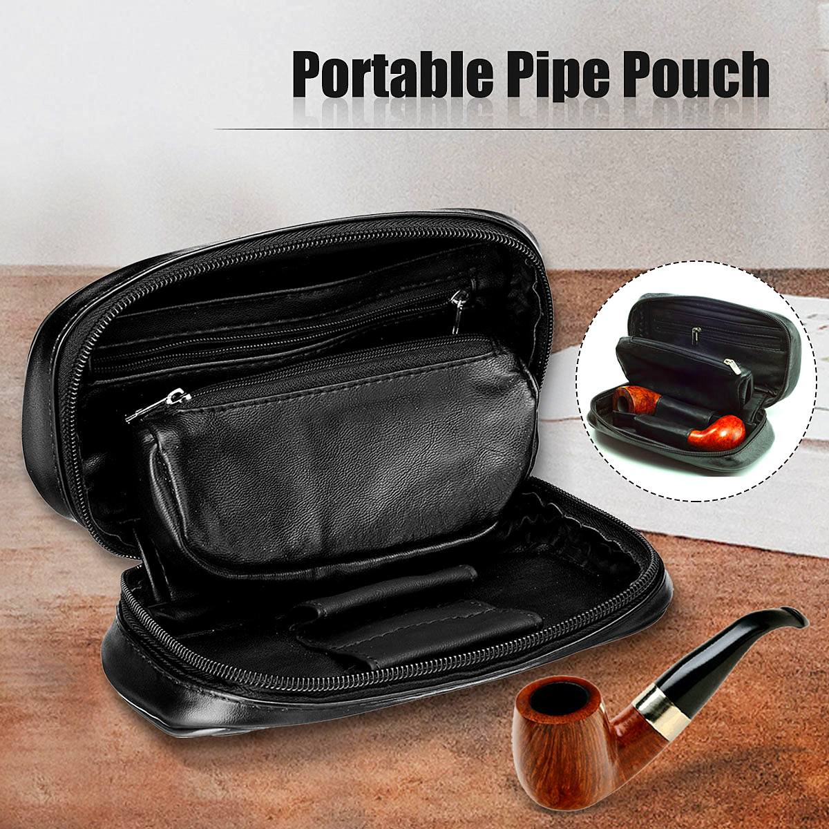 Tobacco Bag Holds 2 Pipes Soft Leather Portable Cigarette Rolling Pipe Tobacco Pouch Wallet Tip Paper Holder Smoking Accessories leather