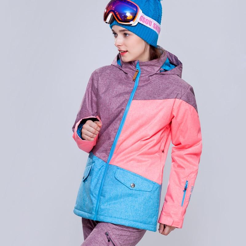 Mulheres jaqueta de esqui no inverno ao ar livre à prova d' água jaqueta de snowboard roupas de esqui Gsou neve roupas