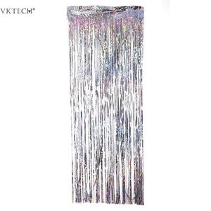 Image 5 - 2M Silver/Multi color Sequin Foil Curtain Rain Fringe Tassel Wedding Backdrop Birthday Party Decoration for Anniversary Decor