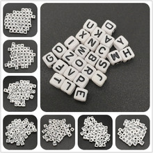 100pcs 6x6mm 26 Letter Beads Square Shape Alphabet Letter Beads Charms Bracelet Necklace For Jewelry Making Accessories(China)