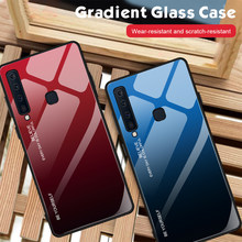 For Samsung A9 A8 A6 A7 2018 A750 Tempered Glass Fashion Case For Galaxy J8 J4 J6 Plus 2018 Gradient Shockproof Anti-fall Cover(China)
