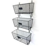 3pcs Wall Mounted Storage Baskets Wire Letter Mail Mount Metal Rack Basket Vintage Triple Organizer Black Storage Blaskets