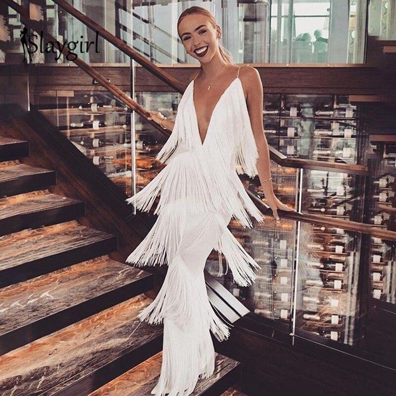 Slaygirl Autumn Sexy Women   Jumpsuit   Elegant Tassel Long White Rompers Womens   Jumpsuits   V Neck Backless Bodysuit Office Overalls