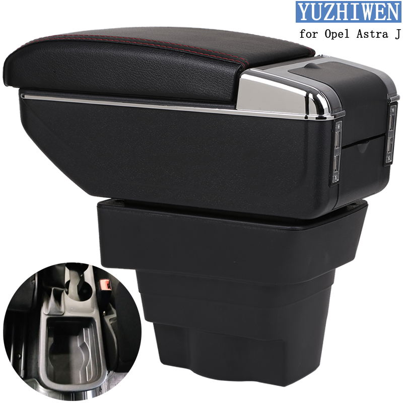 For Opel Astra Armrest Box Opel Astra J Universal Car Central Armrest Storage Box cup holder