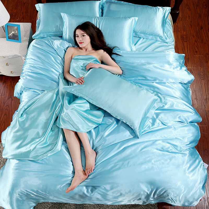 home textile silk satin bed sheet set solid color sexy duvet cover flat sheet pillowcase twin queen size