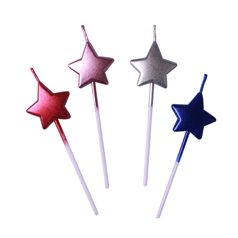 1pcs Star Candle for Holiday Season Wedding Birthday Party Cake Dessert Topper Decoration Supplies TR006