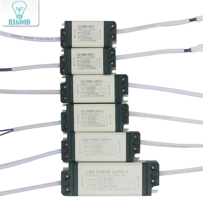 1pce 1-36W Safe Plastic Shell LED Driver Light Transformer Constant Current 300mA Power Supply Adapter for Led Lamp/Chip