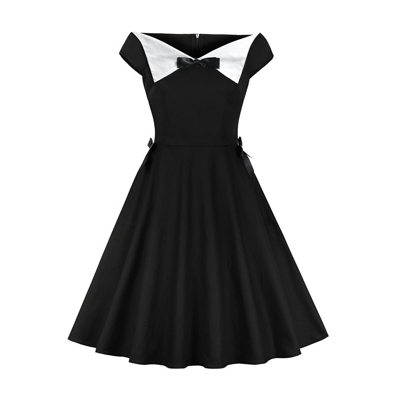 2019 New Summer Dresses Women Vintage Fashion Party Gothic Sexy Elegant Evening Girl Pleated Bow Simple Black Retro A Line Dress