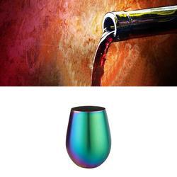 Kieliszki do wina Multicolor opalizujący Rainbow Stemless gospodarstwa domowego 304 ze stali nierdzewnej pojedyncza warstwa kolorowy platerowany duży brzuch E w Szklanki od Dom i ogród na