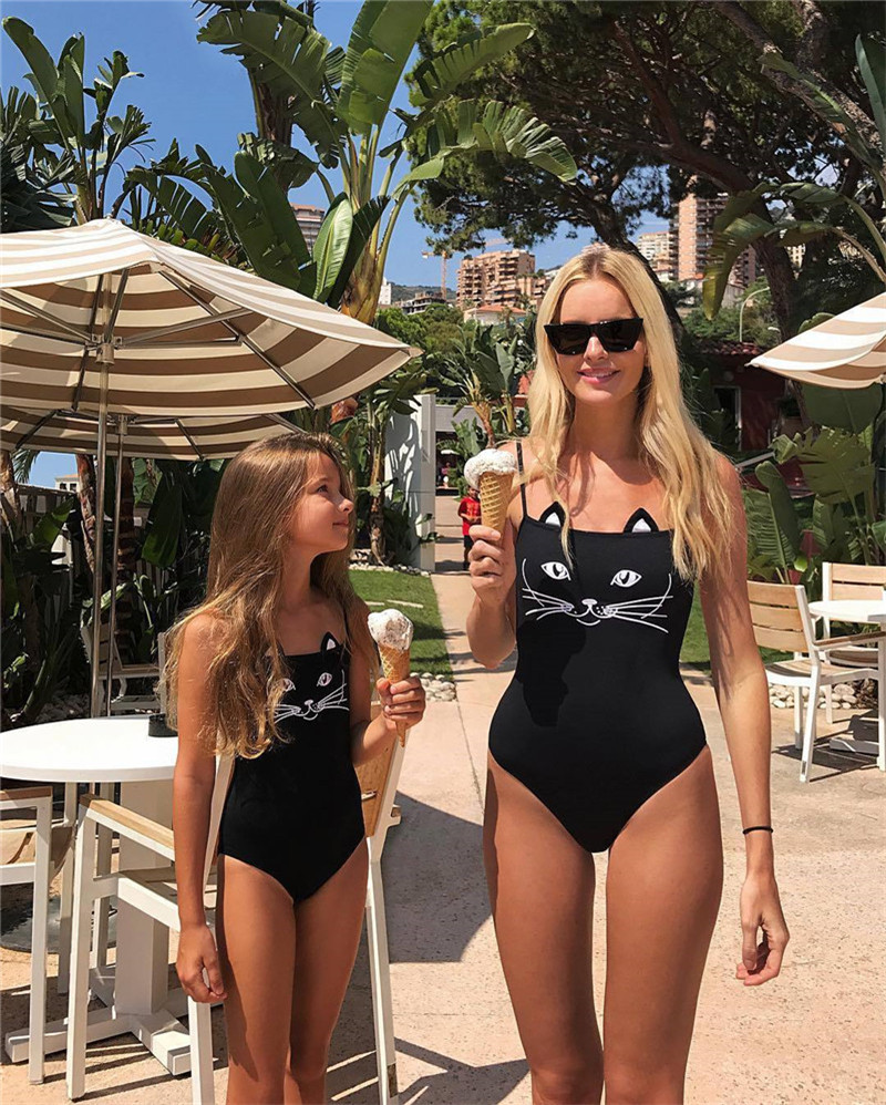 For Mom And Daughter 3D Black Bikini Cat Monokini Swimwear One-Piece Suits Family Swimsuit Sets Cute Bathing Beach Summer