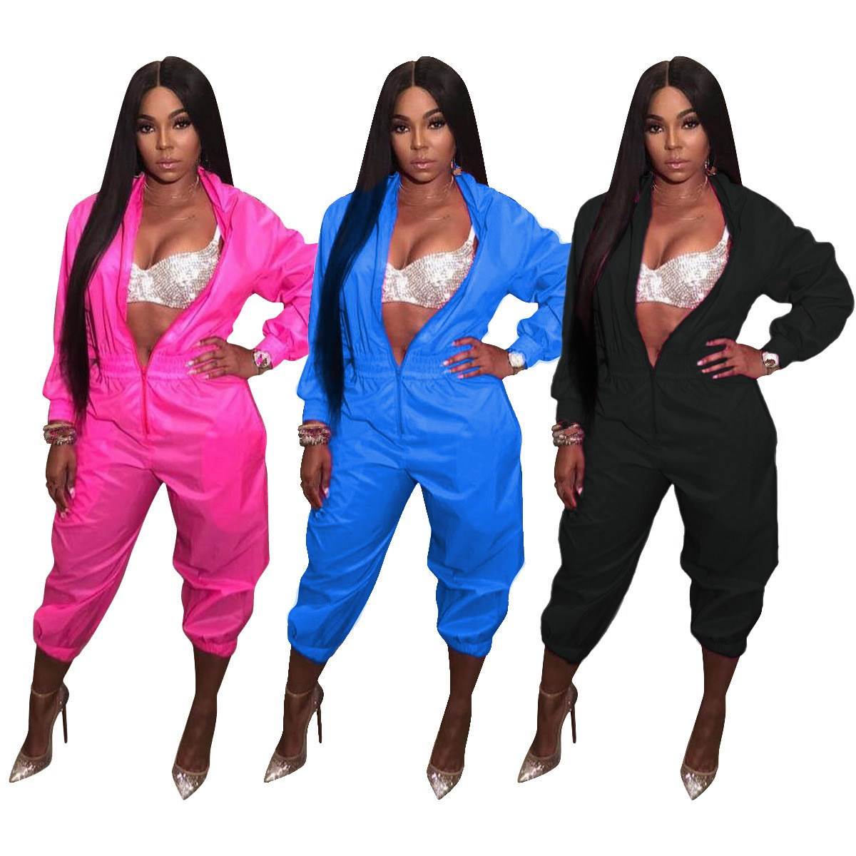 Front Zipper Casual Jumpsuits For Women Long Sleeve Stand Collar Party Bodysuit Stretwear Loose Club Rompers Feminino in Jumpsuits from Women 39 s Clothing