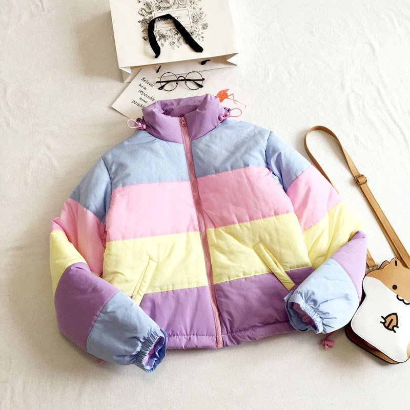 Women Coats Oversized Harajuku   Parkas   Short Padded Warm Jacket Pockets Winter Clothing Rainbow Stripe Splicing Fluffy   Parkas