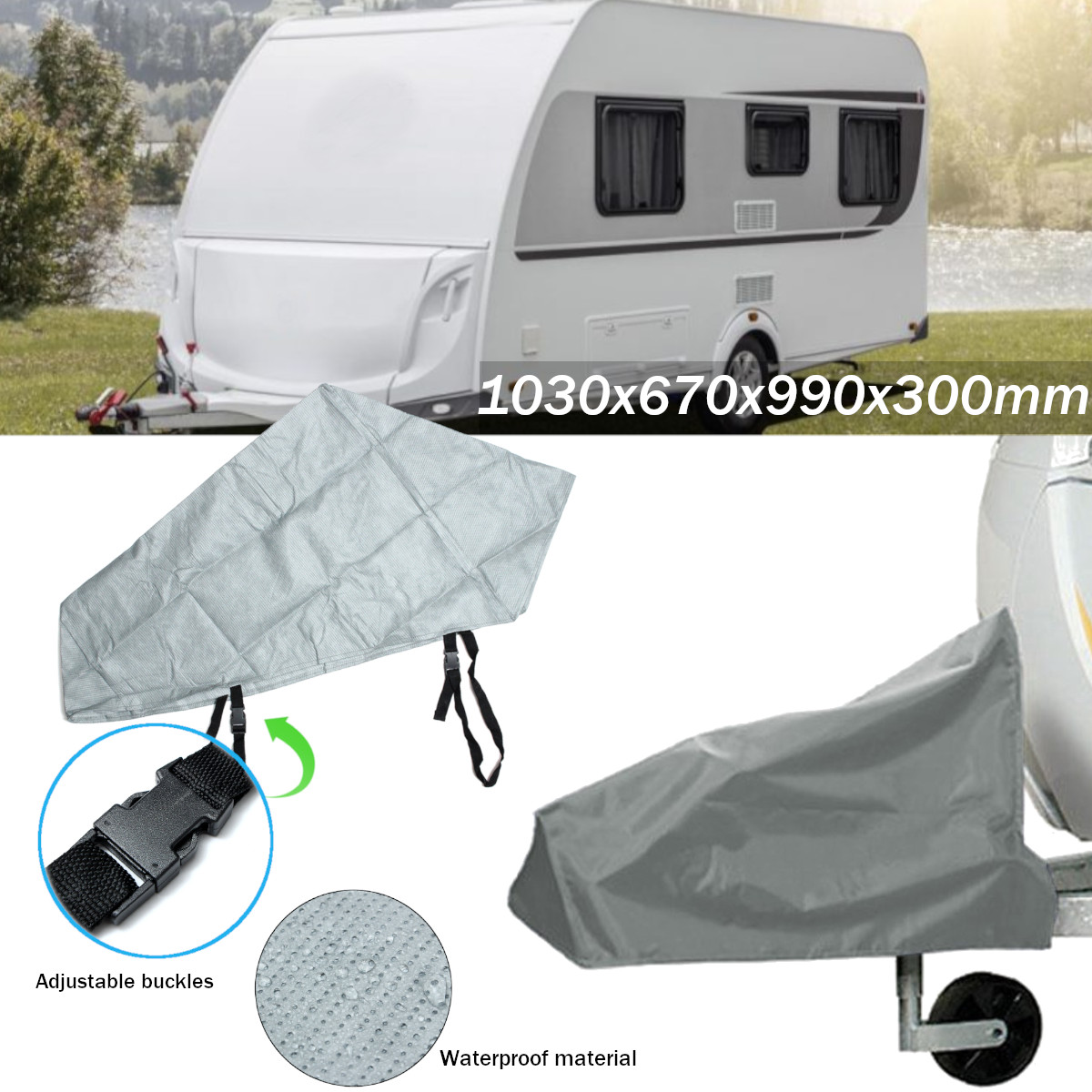 Grey Waterproof Caravan Tailer Towing Hitch Coupling Lock Cover Reflective Coating Material Rain Dust Protect