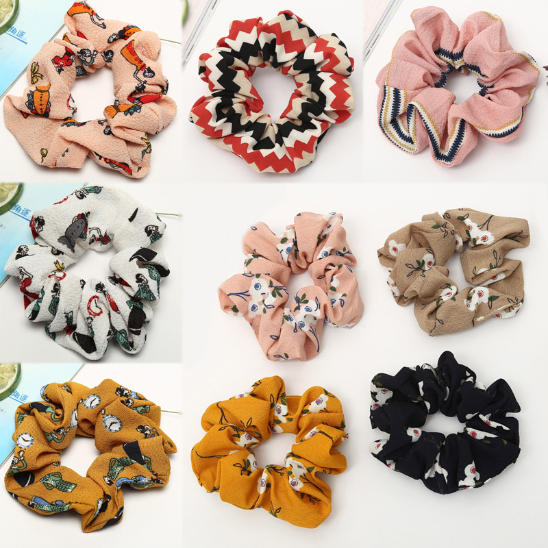 Elastic Beautiful 1PC Comfortable Ponytail Holder Flower Print Hair Rope Tie Scrunchie High Quality Soft Adjustable Strip