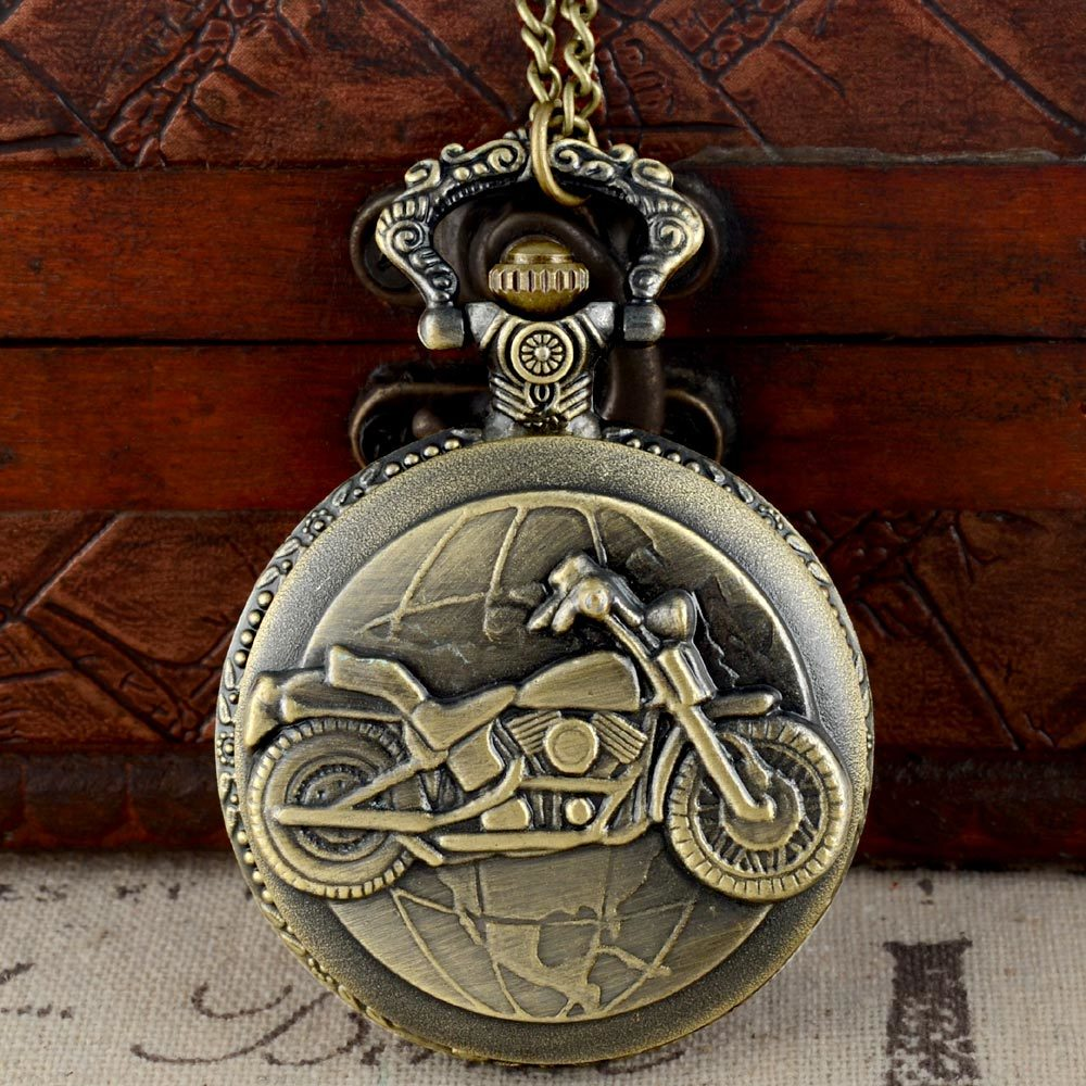 Bronze Color Pocket Watch Motorcycles Pattern Relogio De Bolso Quartz Watch With Necklace Quartz Clock