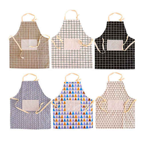Delantal a la moda con bolsillo Chef cocina de algodón hombres mujeres Unisex señoras babero trabajo para cocinar hornear restaurante Pinafore