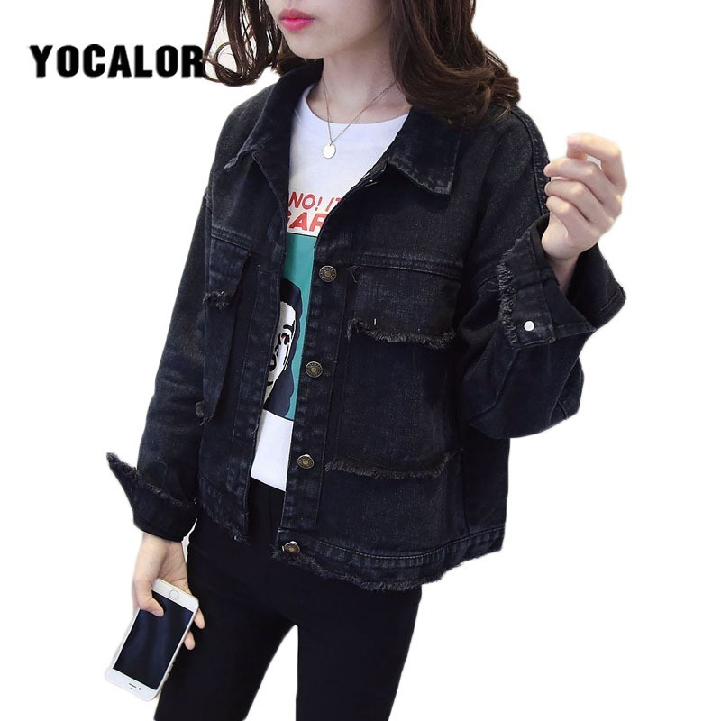 Autumn Bf Denim Jeans Spring Tassel   Jacket   Cowboy Loose Female Coat Women Chaqueta Mujer   Basic     Jackets   For Boyfriend Streetwear