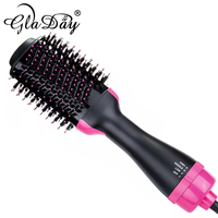 1000W Hot Air Blow Dryer Brush Professional 2 In 1 Straightener Comb Electric Blow Dryer Rotating Hair Brush Roller Styler