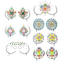 1 Sheet Glitter Rhinestones Temporary Adhesive Chest Stickers Crystal Gems Festival Party Body Fake Tattoo Makeup Decoration