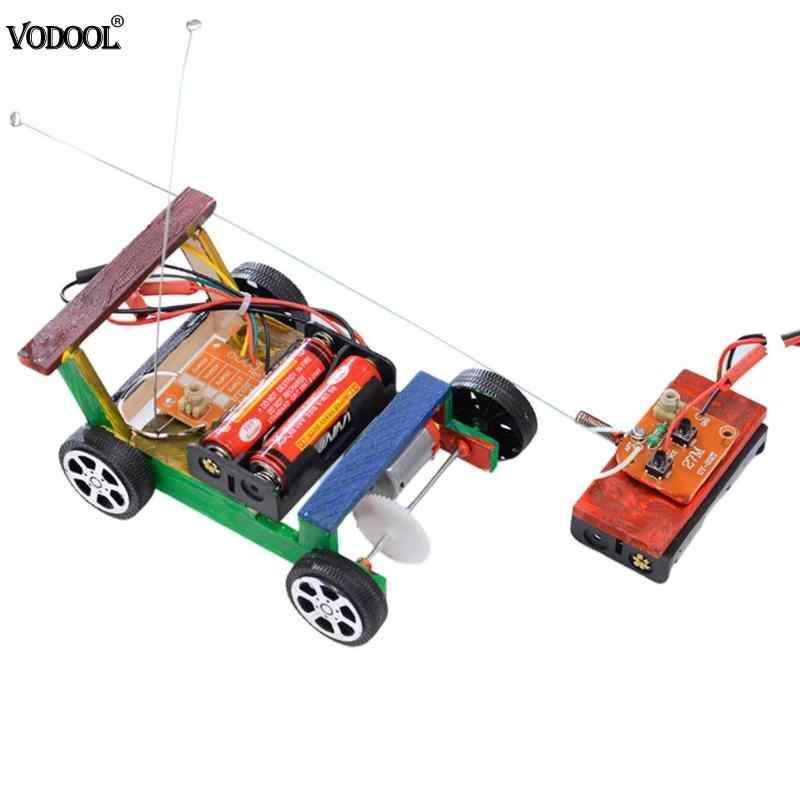 DIY Wooden RC Car Model Kit Wood Remote Control Toy Set Kids Physics Science Experiment Assembled Car Educational Toys For kids