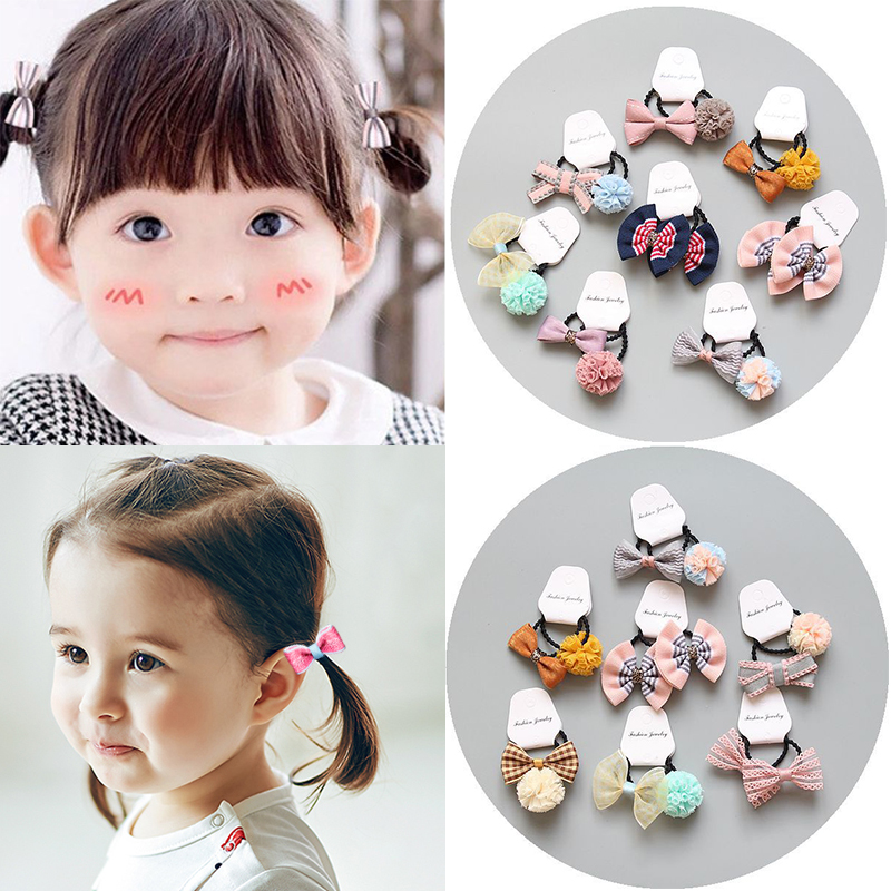 1pair Cute Girls' Bow Hair Ties Set Pom Pom Ball Hair Band Ropes Ponytail Holder Hair Accessories Accesorios Para El Cabello Bright And Translucent In Appearance