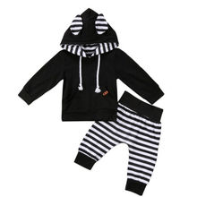 цены Baby Clothing Set Newborn Infant Kids Baby Boy Girl Hoodie Tops Swearshirt+Pants Autumn Winter Outfit Set Clothes 2Pcs Set