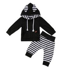 цены Baby Clothing Set Newborn Infant Kids Baby Boy Girl Hoodie Tops Swearshirt+Pants Autumn Winter Outfit Set Clothes 2Pcs Set
