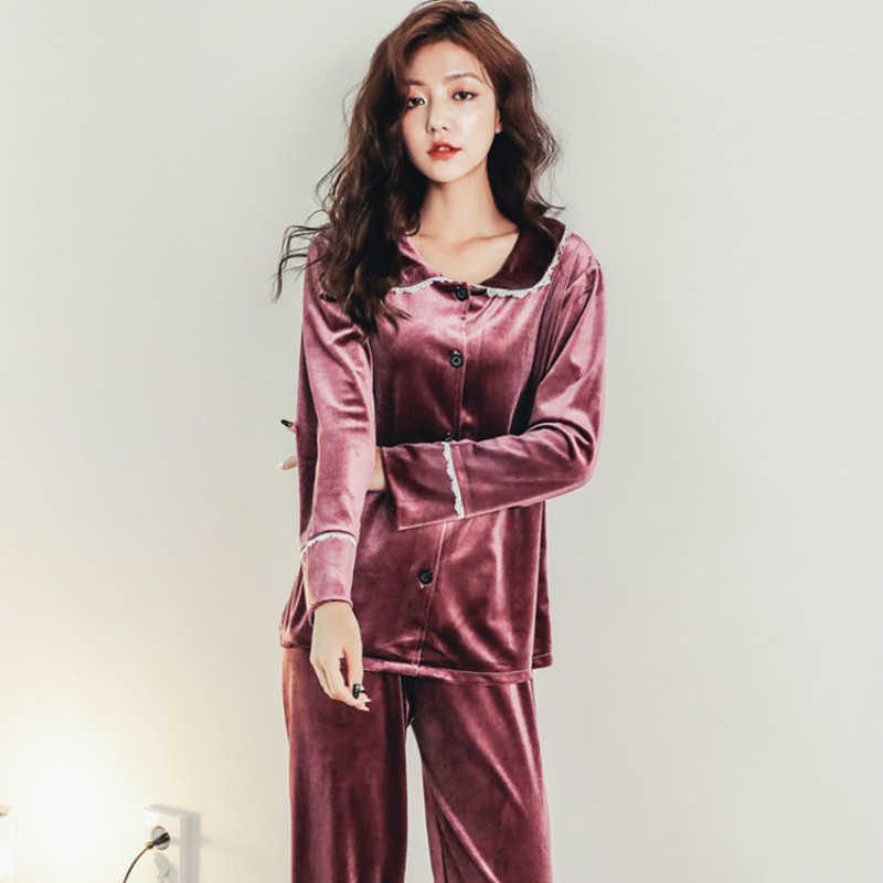 ... Autumn Winter Warm Pyjamas Women Deep Gold Velvet Pajamas Long Sleepwear  Top +Pant Fleece Pijamas ... bc5684ca6