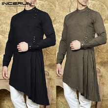 Men Shirt Indian Kurta Suit Solid Color Long Sleeve Cotton Casual Tops Islamic Muslim Arab Kaftan 3XL INCERUN